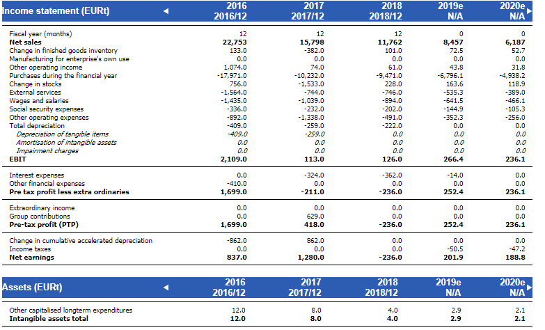 Financial statements page shows the full income statement and balance sheet