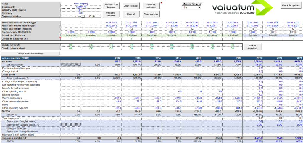 Main sheet in our Excel models