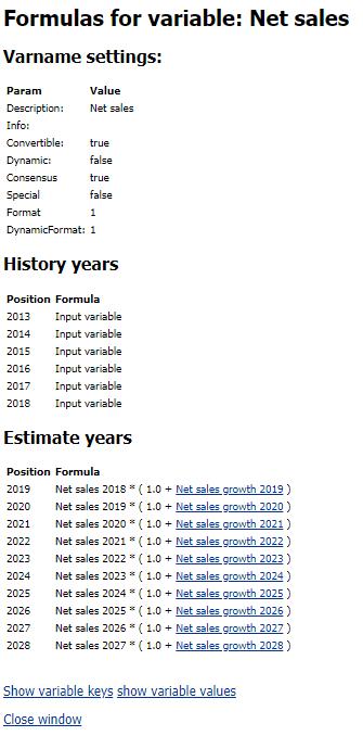 Company views formula display