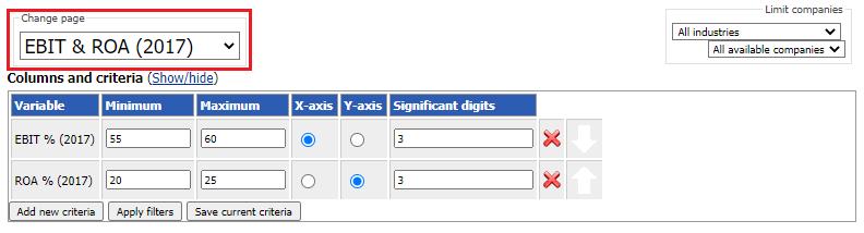 Dynamic comparison page selector